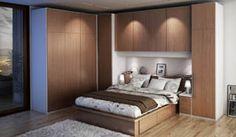 R96 - Dormitorio matrimonial de cama Venus con cajones inferiores, mesitas de noche y gran armario compuesto.