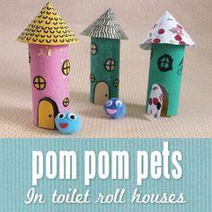 Pom pom pets in toilet roll houses from @Matt Nickles Valk Chuah Craft Train - cute!