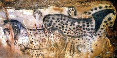 The famous, highly stylized leopard-spotted horses of Pech Merle. I'm not convinced that these are really meant to be depictions of horses that really were leopard-spotted in life: note that spots like those present on the horses have been depicted elsewhere on the cave walls.