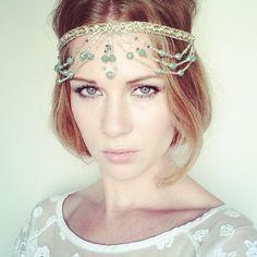 Gold and Green Beaded and Jewel Headpiece - Indian Wedding Gold Green Headband - Miss S-a Headbands