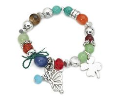 Multicolour Beaded Charm Stretch Bracelet. #Fapos