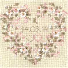 """All Heart Wedding Announcement Counted Cross Stitch Kit - 4.5"""" x 4.5"""" 25 Count"""