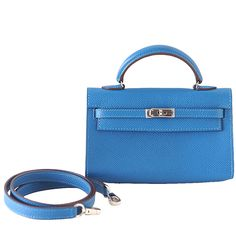 HERMES Kelly bag Runway Limited Edition TINY Miniature exotic MYKONOS   From a collection of rare vintage top handle bags at https://www.1stdibs.com/fashion/handbags-purses-bags/top-handle-bags/