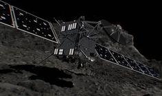 A computer generated artist's impression of Rosetta shortly before hitting comet 67P/ChuryumovGerasimenko.