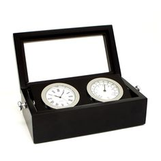 Bey-Berk International Chrome Clock and Thermometer in Black Box with Glass Top - Tarnish Proof - SQB570T