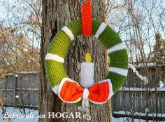 Labrando un HOGAR: Corona de navidad en crochet.