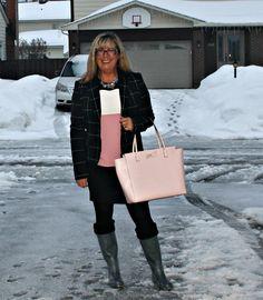 Target windowpane Blazer, Rita & Phill custom skirt and Kate Spade blush bag and hunters #fashion #katespade #fashionover40 #officewear