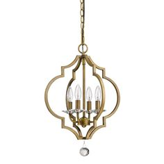 Acclaim Lighting Peyton 4-Light Indoor Raw Brass Chandelier with Crystal Bobeches IN11017RB at The Home Depot - Mobile