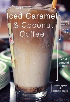 Iced Caramel & Coconut Coffee #recipe #coffee A better pic is at http://porkrecipe.org/posts/Iced-Caramel-Coconut-Coffee-recipe-coffee-44740
