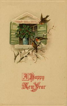 A serenely pretty birdie filled New Year's wish to one and all. #birds #vintage #New_Years #card
