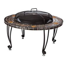 Stone Fire Pit Outdoor Round Firepit Table Wood Burning Heater Copper Fireplace #AmazonBasics