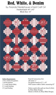 Saving the universe one project at a time! Jellyroll Quilts, Scrappy Quilts, Easy Quilts, Denim Quilts, Jelly Roll Quilt Patterns, Easy Quilt Patterns, Bag Patterns, Red And White Quilts, Blue Quilts