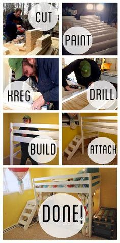 How to Build the Ana White Jr. Loft Bed- DIY Kids Loft Bunk Bed with Stairs instead of a ladder. Loft Bed Diy, Loft Bunk Beds, Bunk Beds With Stairs, Kids Bunk Beds, Bedroom Loft, Lego Bedroom, Master Bedroom, Loft Bed Plans, Murphy Bed Plans