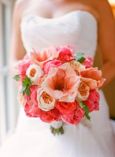 Coral wedding bouquet by Cody Floral Design