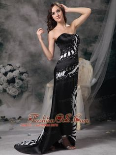 Luxurious Black Column Prom Dress Strapless Brush Train Satin and Zebra Beading- $ 162.89  www.fashionos.com  prom dress online dress store | wholesale prom dress for cheap | evening dress online boutique | prom dress for winter | strapless sleeveless prom dress | strapless brush train prom dress | black and white evening dress | fitted sweetheart prom dress | multi color prom dress on sale | zebra print prom dress online |