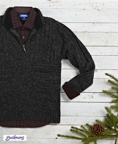 Great style is wrapped up under the tree this year! Zip up sweater and button up plaid shirt is perfect for cold winter months ahead. #gordmans
