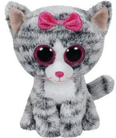 Ty beanie boos gray cats with pink bow a7c942430424