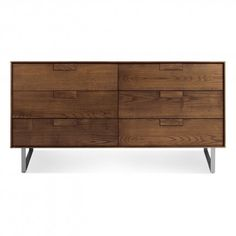 The Series 11 Dresser by Blu Dot presents an elegant approach with thin edges and thoughtful proportions, solid wood, and contrasting drawer interiors.