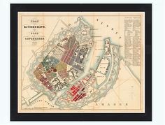 Old Map of Copenhagen Denmark 1853 , City Plan Vintage Map - product image