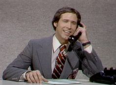 """Chevy Chase, original SNL cast member, season one - and the very first """"Weekend Update"""" anchor. Best Of Snl, Garrett Morris, Snl Cast Members, Weekend Update, Moves Like Jagger, Chevy Chase, Originals Cast, Saturday Night Live"""