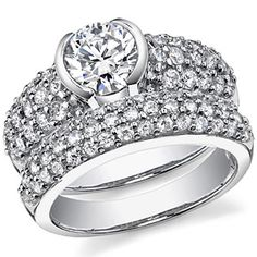 Tiffany Pave Etoile Inspired Asha & Diamond Wedding Set