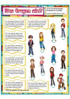 Kleidung & Aussehen _ Wer ist wer_2 Learn German, German Outfit, German Grammar, German Language Learning, Teaching Kids, Diy For Kids, Homeschool, Germany, Classroom