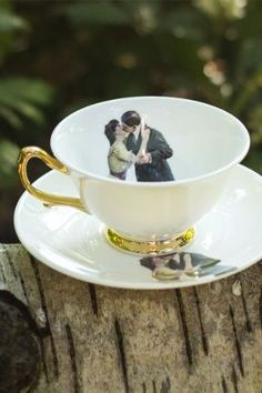 Melody Rose Kissing Couple Teacup and Saucer