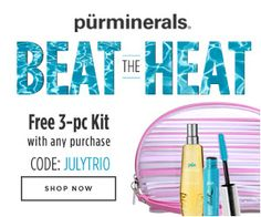 Get this Pür Minerals summer kit for free with any purchase using code JULYTRIO. Valid through July - Shop Now! 3 Piece, Minerals, Shop Now, Coding, Kit, Summer, Free, Beauty, Shopping