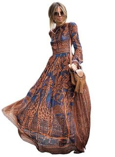 Chiffon Floral Long Sleeve Maxi Casual Dresses