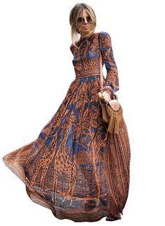 Chiffon Floral Long Sleeve Maxi Casual Dresses