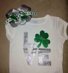 St. Patrick's Day outfit for baby girls  LOVE by rbsDesigns, $29.00