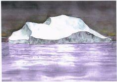 remember (Painting),  48x55 cm par Mijo Chambon aquarelle encadrée l'iceberg.;symbole du changement climatique