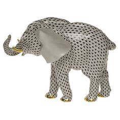 Herend Hand Painted Porcelain Figurine of Standing Trunk Up Elephant in Black Fishnet w Gold Accents.