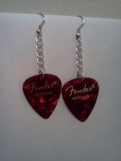 Drk Red Fender Guitar Pick Earrings