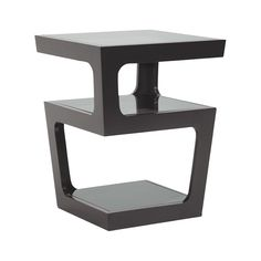 With a striking, modern silhouette this end table is a chic piece worthy of accompanying a statement sofa or sophisticated armchair. Each level of the Gauntlet  End Table is topped with tinted tempered...  Find the Gauntlet End Table in Black, as seen in the Mad for Mod Collection at http://dotandbo.com/collections/mad-for-mod?utm_source=pinterest&utm_medium=organic&db_sku=107431
