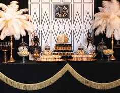the great gatsby wedding inspiration | dessert table decorations |