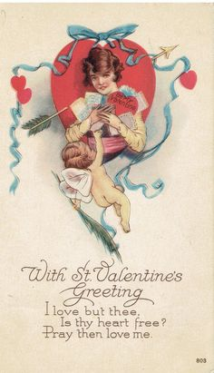 Antique Valentine Vintage Postcard by heritagepostcards on Etsy $2.75