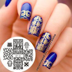 blau gold nail design mit stamping