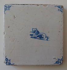 """17th century DUTCH DELFT TILE """"LION"""" (c.1650-1675)"""