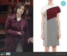 Selina's colorblock dress on Veep.  Outfit Details: http://wornontv.net/49171/ #Veep