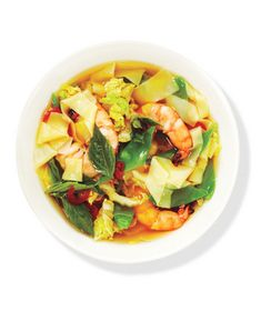 """Make fast """"noodles"""" by slicing wonton wrappers into strips; they'll cook quickly in the broth. Get the recipe for Asian Noodle Soup With Shrimp."""