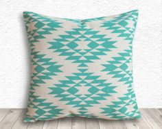 Pillow Cover, Aztec Pillow Cover, Tribal Pillow Cover, Linen Pillow Cover 18x18 - Printed Tribal - 011