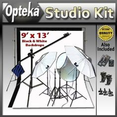 Deluxe Portrait Studio Starter's Kit by Opteka Package Includes: Opteka Heavy-Duty Photography Backdrop Supporting System, Opteka Black and Opteka White 9' X 13' Muslin Backgrounds, Opteka 7-foot Boom Stand Boom Set, Opteka RFT-40 Remote Shutter Release and Wireless Flash/Light Trigger Combo and Much More for Nikon D90, 3100, D5000, D5100 and D7000 Digital SLR Cameras (Electronics) http://www.amazon.com/dp/B004URHELW/?tag=pint-test-21 B004URHELW
