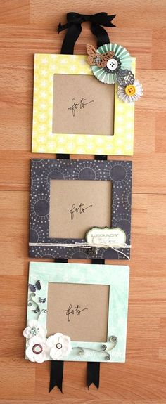 Photo frames made of cardboard boxes. This is an inexpensive way of creating photo frames and you can choose the borders by using your own scrapbook paper!