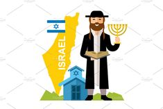 Isolated on a white background Vector files, fully editable. Flat Illustration, Character Illustration, Israel Country, Torah, Signs, Fashion Flats, Character Concept, Elves, Worship