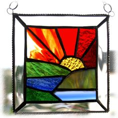 Suncatcher stained glass heart folksy handmade blue | Glass Crafts | Popular Crafts | Craft Juice