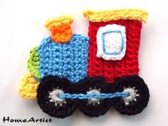 Crochet Applique Embellishments train from HomeArtist by DaWanda.com