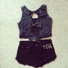 Bow Tie Back Crop Top and Studded Shorts