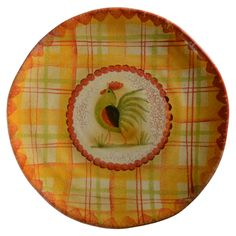 Il Canto del Sol -  This pattern is reminiscent of the first song of dawn from the rooster on the farm. The traditional rooster is combined with plaid design and mixes well with Taormina. Dishwasher and microwave safe with care.