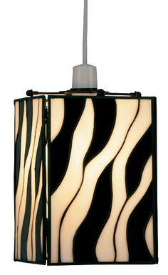 The Oaks lightingZebra black and white stripe tiffany glass lamp shade available from luxury lighting